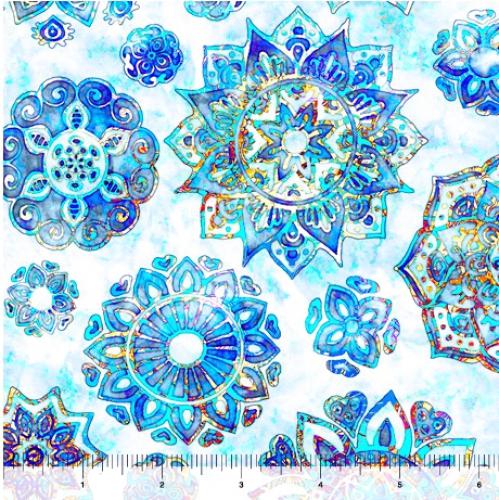 QUILTING TREASURES - Kashmir - Mandalas Blue