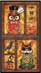 QUILTING TREASURES - Steampunk Halloween by Desirees Designs - Steampunk Halloween Panel - Antique Gold - PL601