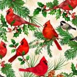 QUILTING TREASURES - Christmas Cardinals -  by Liza Bea - Christmas Cardinals - Oatmeal