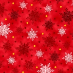 QUILTING TREASURES - Christmas Cardinals - by Liza Bea - Snowflakes - Red