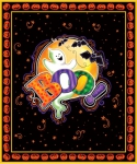 QUILTING TREASURES - Tricks & Treats by Gina Jane Lee - Boo Panel - Black - PL602