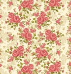 Skinny - SK986- 2 yds - BENARTEX - Homestead Carriage - Climbing Rose - Cream Wide Backing