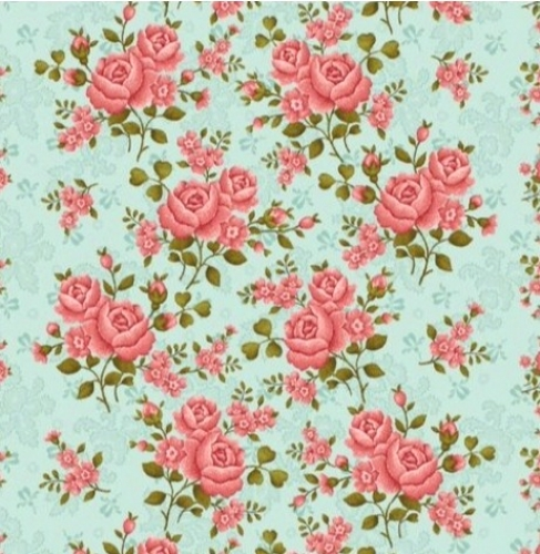 BENARTEX - Homestead Carriage - Climbing Rose - Teal  108