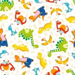 HENRY GLASS - Dino-Mates - Small Tossed Dinosaurs - White