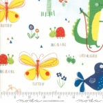 MODA FABRICS - Later Alligator - Animals White