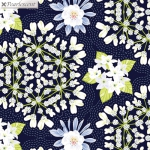 BENARTEX - Nightingale - Medallion - Navy - Pearlized