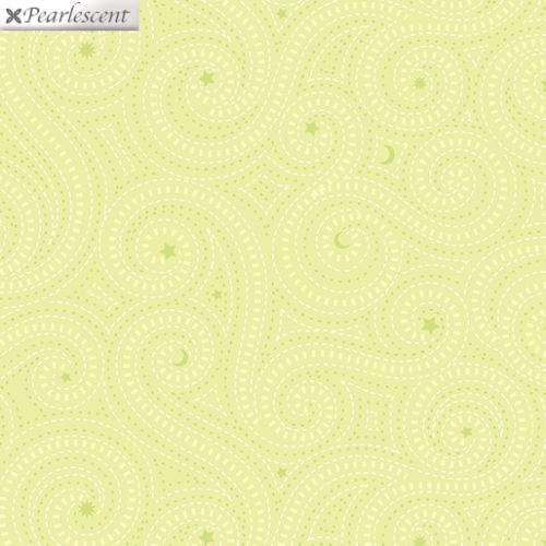 BENARTEX - Nightingale - Dashed Lines - Lime - Pearlized
