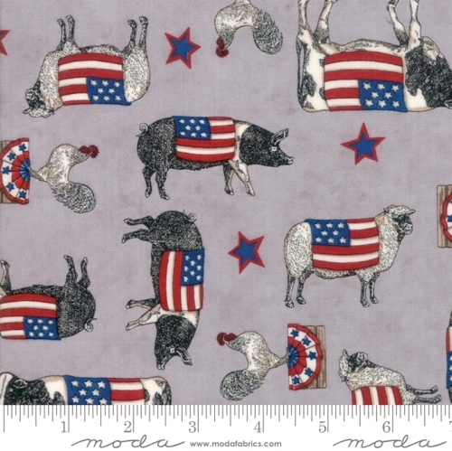 MODA FABRICS - Land That I Love - Gray Farm Animals