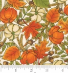 MODA FABRICS - Thankful by Deb Strain - Seasonal Autumn Tossed Leaves Pumpkins - Natural - Ivory
