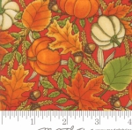 MODA FABRICS - Thankful by Deb Strain - Seasonal Autumn Tossed Leaves Pumpkins - Berry - Red