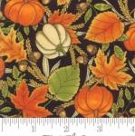 MODA FABRICS - Thankful by Deb Strain - Seasonal Autumn Tossed Leaves Pumpkins - Charcoal - Black
