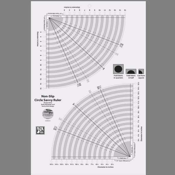Creative Grids Circle Savvy 11-3/4in x 18-1/2in CGRSAV1 ... : circle ruler for quilting - Adamdwight.com