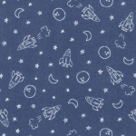 MODA FABRICS - Soft Sweet Flannel - Navy/White Outer Space - FLANNEL