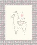 MODA FABRICS - Soft Sweet Flannel - Gray/Cream Llama - FLANNEL - PANEL - PL124