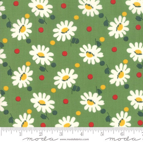 MODA FABRICS - Bubble Pop - Daisies And Dots - Green