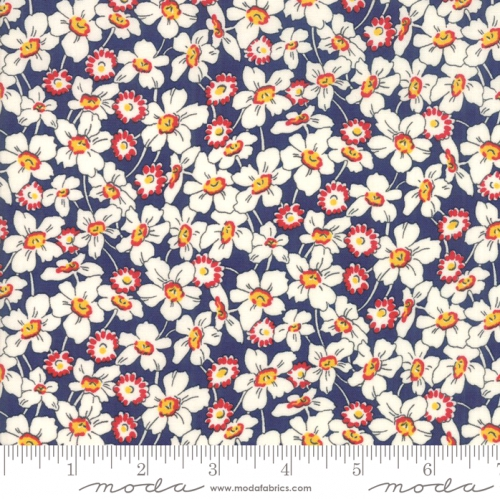 MODA FABRICS - Bubble Pop - Tossed Flowers - Navy