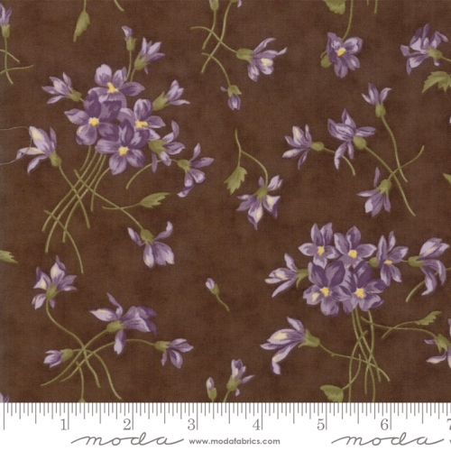 MODA FABRICS - Sweet Violet - Tossed Flowers Earth