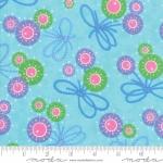 MODA FABRICS - Flower Sacks - Flowers & Bows Aqua