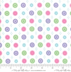 MODA FABRICS - Flower Sacks - Button Flowers White - #1880