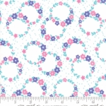 MODA FABRICS - Flower Sacks - Floral Wreath White/Purple