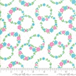 MODA FABRICS - Flower Sacks - Floral Wreath White/Aqua