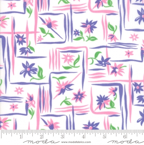 MODA FABRICS - Flower Sacks - Framed Flowers Purple/Pink - #1858