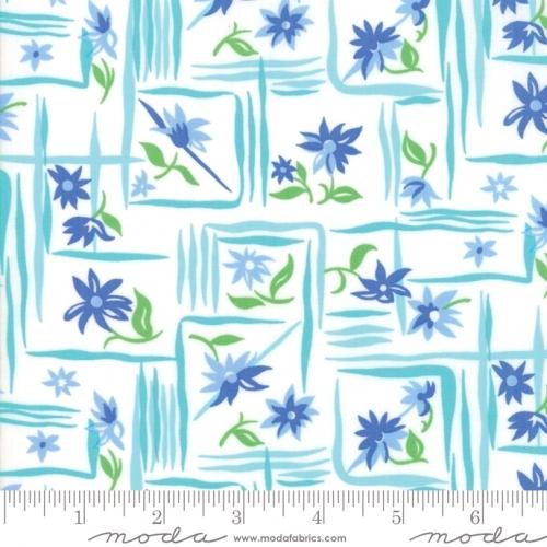 Skinny - SK2995- 1 yd - MODA FABRICS - Flower Sacks - Aqua/Blue
