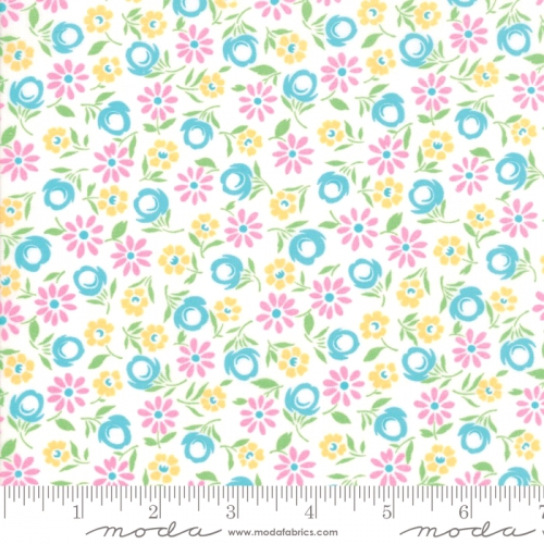 MODA FABRICS - Good Day - White Turquoise