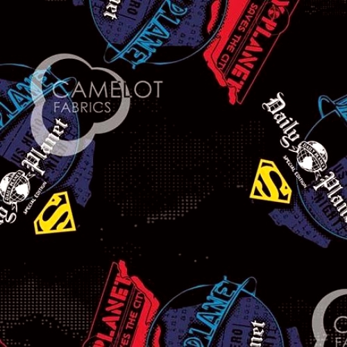 CAMELOT FABRICS - Superman - Superman Daily Planet - Black