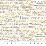 NORTHCOTT - Stonehenge - White Christmas by Linda Ludovico - Words - Metallic - Cream