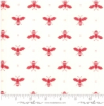 MODA FABRICS - My Redwork Garden - Cream Red