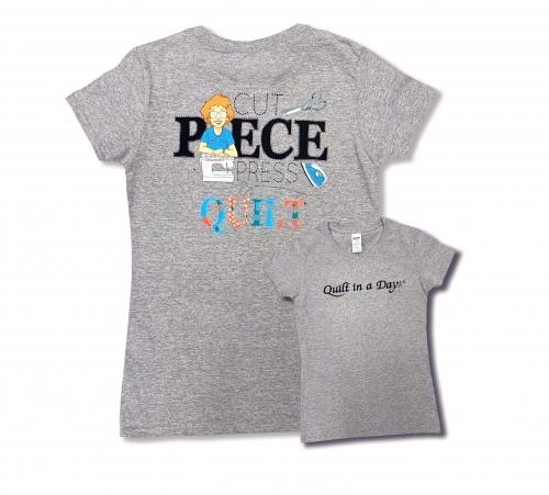 Gray 2X Cut Piece Press & Quilt T-Shirt