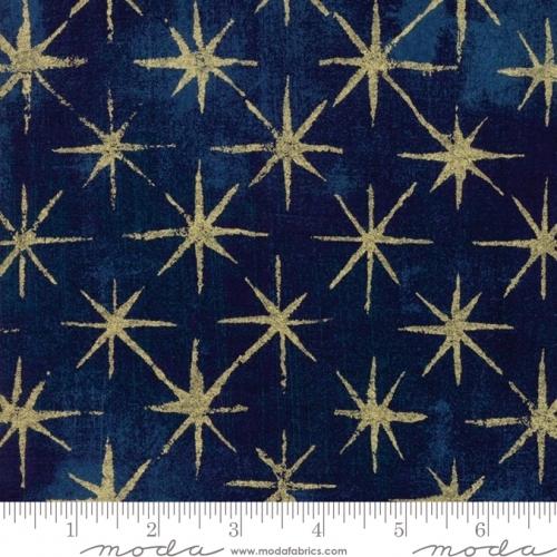 MODA FABRICS - Grunge - Seeing Stars Metallic - Navy - #1281