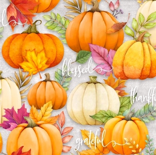 WILMINGTON PRINTS - Happy Gatherings - Pumpkins Gray