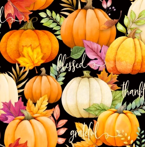 WILMINGTON PRINTS - Happy Gatherings Pumpkins Black