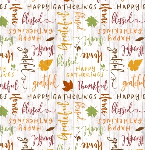 WILMINGTON PRINTS - Happy Gatherings - Words Cream