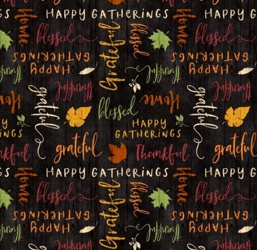 WILMINGTON PRINTS - Happy Gatherings - Words Black