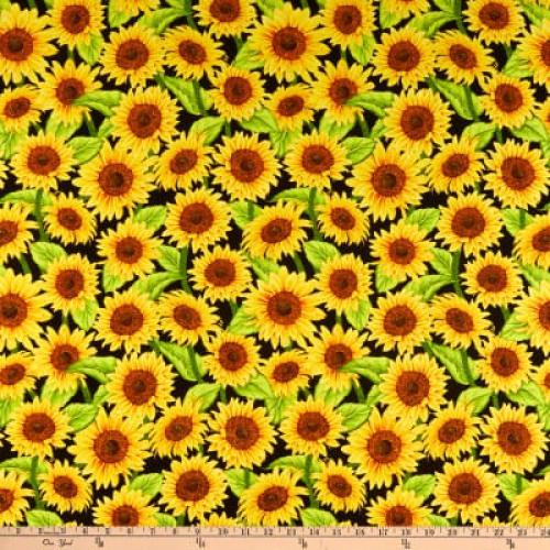 WILMINGTON PRINTS - Jardin Du Soleil - Black Sunflowers