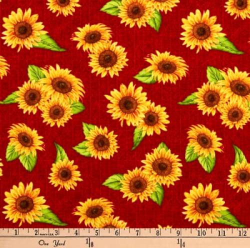 WILMINGTON PRINTS - Jardin Du Soleil - Red Sunflowers