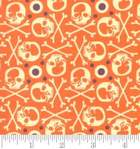 MODA FABRICS - Hallo Harvest - Basicgrey Seasonal Halloween RIP - Orange - Maple