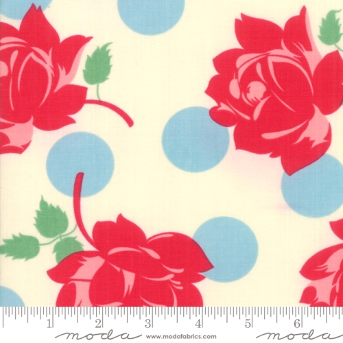 MODA FABRICS - Cheeky - Roses & Polka Dots White