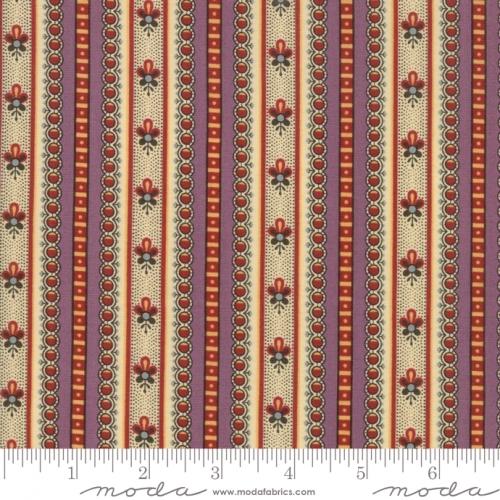 MODA FABRICS - Susannas Scraps - Floral Stripe Thistle