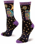 Sock - Celestial Cat Black by K Bell