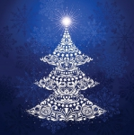 Clearance - Gradients Holiday - Christmas Tree Panel Ice by Moda
