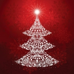 Clearance - Gradients Holiday - Christmas Tree Panel Ruby by Moda
