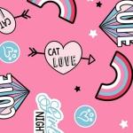 CAMELOT FABRICS - Cat Rules - Cat Love - Pink