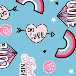 CAMELOT FABRICS - Cat Rules - Cat Love - Blue