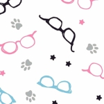 CAMELOT FABRICS - Cat Rules - Glasses - White #2962