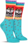 Sock - Polka Dot Cats Turquoise by K Bell