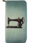Retro Sewing Machine /Scissor Print Faux Leather  Wallet Tacony